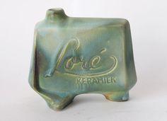 Catawiki online auction house: Matt Camps voor Loré keramiek - groen/blauw reclame vaas/object