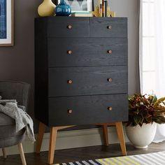 Turn your MALM IKEA dresser into this West Elm Mid Century Mod piece. Tall Storage 5-Drawer Dresser - Black | West Elm