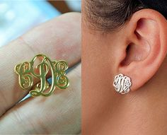 Sterling Silver Monogram Stud Earrings,Initial Stud Earrings,Personalized Monogram Earrings,Monogrammed Gifts,Name Stud Earrings by on Etsy Monogram Earrings, Monogram Jewelry, Monogram Gifts, Stud Earrings, Monogram Bracelet, Jewelry Accessories, Etsy Jewelry, Jewelery, At Least