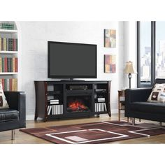 Star Marlin 26-inch Classic Flame Indoor Fireplace Media Mantel in Midnight Cherry