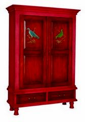 Hartford Armoire Signature Red finish - Signature Red finish on solid wood cabinet accented with Retreat Stain doors and drawers. Hand-painted birds adorn door fronts. Interior is finished in Retreat Stain with three adjustable shelves. Antiqued hardware.