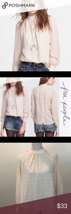 """Women's Free People After Midnight Chevron Blouse .  Description: Loose Fit, A-Lined, High Neck, Back Button Down, Sheer, Chevron, Shorter Sides, Long Sleeve, Blouse    Measurements:  Bust: 40""""  Length ( from top to bottom): 23""""  Sleeve: 24.5"""" Free People Tops Blouses"""