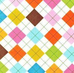 Remix Argyle Summer Pastel Pink Aqua Brown Ann Kelle - Robert Kaufman - Fabric - Fat Quarter 18 by 22