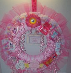 Diaper Wreath Pink Baby Girl's Adorable Baby by KarensCakeShop
