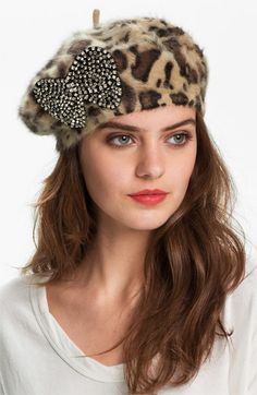 Betsey Johnson Leopard Print Bow Beret available at #Nordstrom