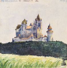 Egon Schiele (Austrian, 1890-1918), Burg Kreuzenstein am Morgen [Kreuzenstein Castle in the morning], 1906. Watercolour and gouache on paper, 19 × 18.7 cm.