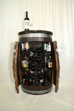 Wine Barrel Whiskey Barrel Liquor Cabinet, Wine Cabinet, Alcohol Cabinet And…