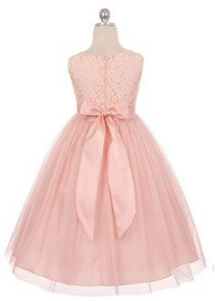Blush Lace Bodice Flower Girl Dress