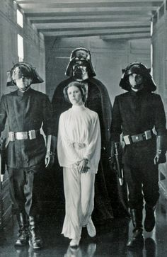 A New Hope: Princess Leia is captured by the Galactic Empire and is being held prisoner.