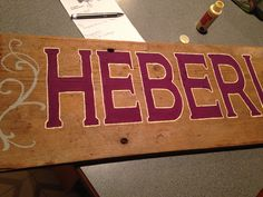 Sign for the head table