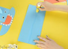 Shark Paper Hand Puppet - Easy Peasy and Fun Toddler Crafts, Crafts For Kids, Shark Puppet, Hand Puppets, Baby Shark, Paper Toys, Easy Peasy, Make Your Own, Sharks