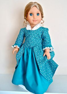 """Elizabeth and Felicity's """"Faithful Friends""""  En Forreau Colonial Gown, Petticoat & Fichu Set: Historically accurate set"""