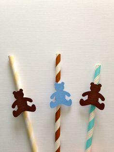 Teddy Bear Baby Shower or First birthday Boy girl Twins striped straws brown blue tan fun vintage theme