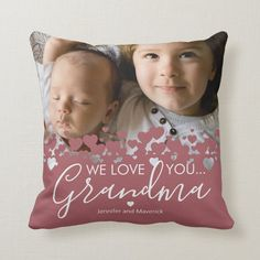 We Love You Grandma Photo Throw Pillow - tap to personalize and get yours #ThrowPillow #grandma #pillow, #keepsake, #modern, #family, Mother Day Gifts, Happy Mothers Day, Photo Pillows, Photo Heart, Custom Pillows, Decorative Pillows, Christmas Card Holders, Free Sewing