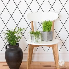 Diamond Trellis Wall Stencil from Royal Design Studio - Harlequin inspired modern and geometric wall stencils for DIY home decor