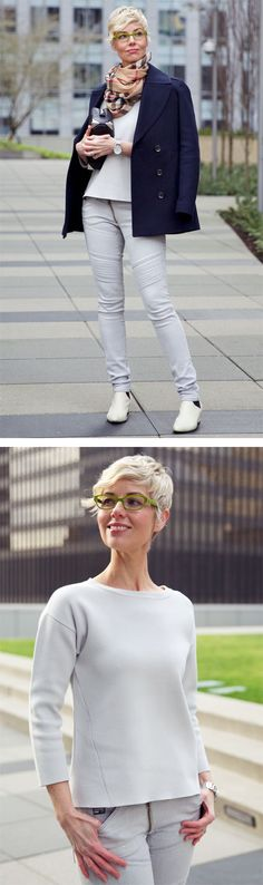 A tailored and neutral outfit that incorporates modern classics and a current edge. Mature Women Fashion, Woman Fashion, You Look Fab, Neutral Outfit, Short Haircuts, Fall 2015, Scarf Styles, Wavy Hair, Capsule Wardrobe
