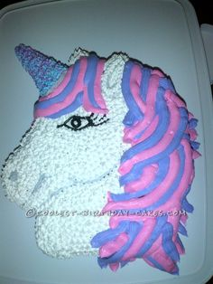 Pretty in Pink and Purple Unicorn Birthday Cake... This website is the Pinterest of birthday cake ideas