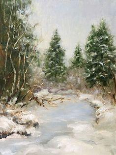 Картина маслом пейзаж «Зимняя тишина» Painting, Outdoor, Oil, Outdoors, Painting Art, Paintings, Painted Canvas, Outdoor Living, Garden