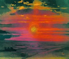 Coucher de soleil en hiver, huile de Arkhip Ivanovich Kuinji (1842-1910, Russia)