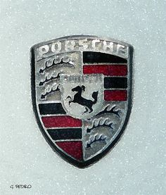 Porsche Emblem by George Pedro Coat Of Arms, Porsche Logo, Wall Art, Logos, Painting, Family Crest, Logo, Painting Art, Paintings