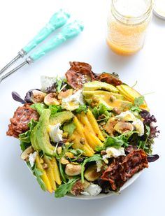 Nectarine and Fig Summer Salad with Crispy Pancetta. It has nectarines. It has crispy pancetta slices and goat cheese and avocado and omg PISTACHIOS. Nectarine Recipes, Brunch, Rabbit Food, Pasta, Healthy Salad Recipes, Summer Salads, Soup And Salad, Summer Recipes, Carne