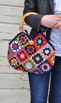 crochet 'granny square' bag by