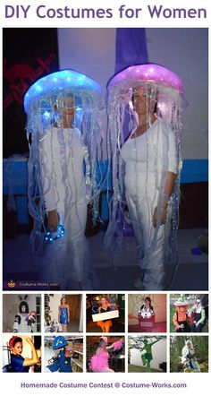 Homemade Costumes for Women - a lot of homemade costume ideas!  I have the website pinned onto the jellyfish costume, but you can search the others from there!