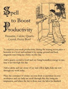 Spell to Boost Productivity, Book of Shadows Page, Wicca, Witchcraft, Charmed – Personal Celebrations Witch Spell Book, Witchcraft Spell Books, Wicca Witchcraft, Magick Spells, Moon Spells, Real Magic Spells, Pseudo Science, Real Witches, The Knowing