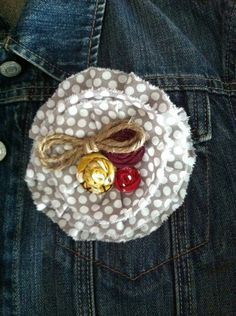 Fall Pin in Gray, Red, Yellow, and Purple with Twine on Etsy, $10.00