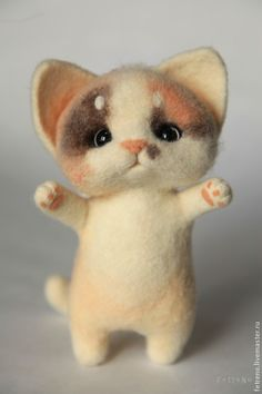 Authors' toys made of wool. Needle Felted Cat, Needle Felted Animals, Felt Animals, Cute Baby Animals, Needle Felting Tutorials, Felt Cat, Cat Doll, Buy A Cat, Cute Toys
