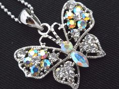 Butterfly Pendant Necklace Woman's Silver Chain AB Crystal Fashion Jewelry New #Unbranded #Pendant