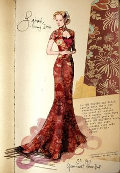 "Costume illustration for ""Lady Sarah Ashley"" (Nicole Kidman) 'Australia' 2008. Design by Catherine Martin."