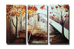 Ode-Rin - 100% Hand Painted Oil Painting on Canvas Autumn Raining Embankment Landscape Framed and Stretched 3 Pieces Abstract Lover Walking Tree Wall Art Painting, Ready to Hang - (12'x32' x 3 Panels) -- Additional details at the pin image, click it  (This is an amazon affiliate link. I may earn commission from it)