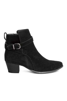 Suede ankle boots - Black - Ladies | H&M