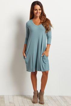 Dusty Teal Ribbed V-Neck Dress