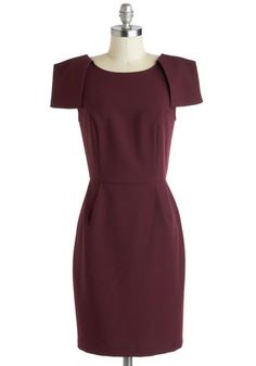 Wine Tasting Soiree Dress from Modcloth, for $52.99. - Red, Solid, Work, Sheath / Shift, Short Sleeves, Scoop, Minimal, Mid-length, Knit, Purple #wine #burgundy