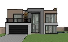 House design offers a contemporary double storey house plan. A 4 bedroom house design with bold features. Small House plans in South Africa. Double Storey House Plans, Double House, Double Garage, 4 Bedroom House Designs, 4 Bedroom House Plans, Open Floor House Plans, Porch House Plans, Modern Villa Design, Modern Contemporary Homes