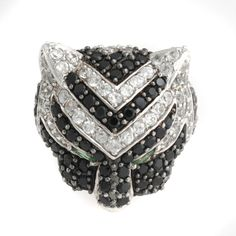 Yours by Loren 4.94ct Black Spinel and White Zircon Sterling Silver Tiger Ring 7 #YoursByLoren #Tiger
