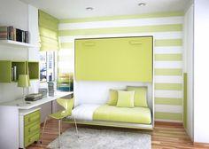 Chambre transformable au vert et blanc
