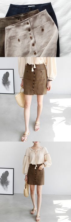 Button-Front H-Line Mini Skirt | $38.80