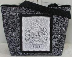 Lucky Skulls Tattoo Large Tote Bag Bandanna Skulls by Mokadesigntotes