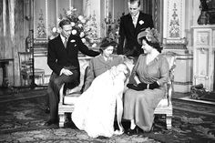 Christening of Prince Charles of Edinburgh (later The Prince of Wales), from left: King George VI, The Princess Elizabeth (later Queen Elizabeth II), The Duke of Edinburgh, and Queen Elizabeth (later The Queen Mother). Old Prince, Royal Prince, Baby Prince, Princess Elizabeth, Queen Elizabeth Ii, Princess Diana, Prince Phillip, Prince Charles, Reign