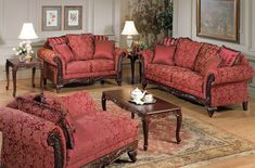 Fairfax Magenta Fabric Wood Living Room Set