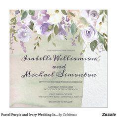Pastel Purple and Ivory Wedding Invitations