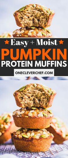 Pumpkin Protein Muffins (Healthy + Gluten-Free) - One Clever Chef - These Flourless Pumpkin Protein Muffins are made with the healthiest ingredients. Pumpkin Protein Muffins, Healthy Muffins, Healthy Protein, Healthy Desserts, Whey Protein, Protein Bread, Protein Desserts, Protein Cake, Protein Bites