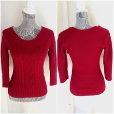 Express red sweater Gently used, Express cable knit sweater. Perfect shade of red! Not quite 3/4 sleeve, hits just below my elbow. 60% acrylic 40% merino wool. Express Sweaters Crew & Scoop Necks