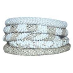 Elegant White & Silver Bead Handmade Bracelets Set  http://stylexotic.com/elegant-white-silver-bead-handmade-bracelets-set/