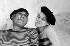 "Anthony Quinn and Anna Karina on the set of Guy Green's ""The Magus,"" in Mallorca, Spain. 1976 { photo: eve arnold }"