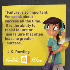 """J.K. Rowling """"Failure is so important. We speak about success all the time. It is the ability to resist failure or use failure that often leads to greater success."""" #success #J.K. #Rowling #quote"""