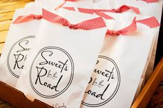 Sweets for the Road - Personalized Wedding Favor Bag - Wax Lined Favor Bag - 25 White Favor Bags included